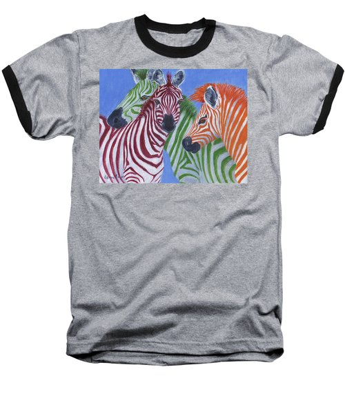 Baseball T-Shirt featuring the painting Zzzebras by Jamie Frier