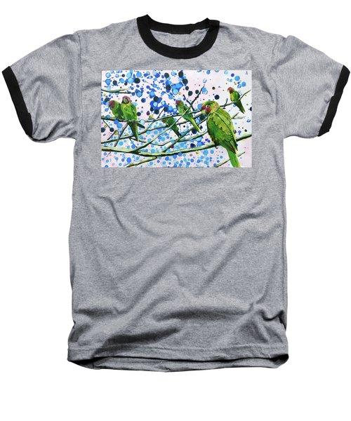 Blue Dot Parakeets Baseball T-Shirt