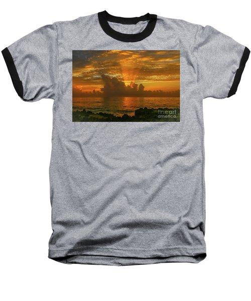 Orange Sun Rays Baseball T-Shirt