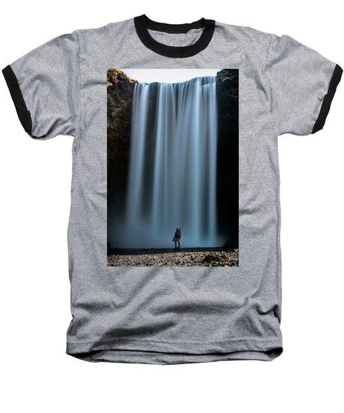 Amongst Giants Skogafoss Iceland Baseball T-Shirt