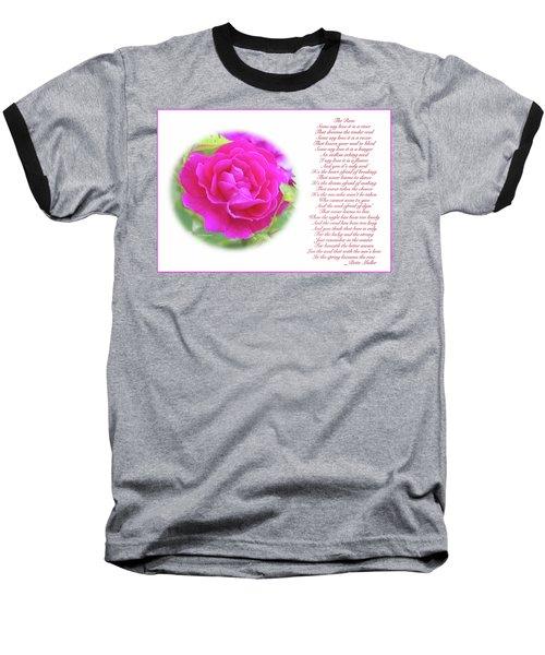 Pink Rose And Song Lyrics Baseball T-Shirt