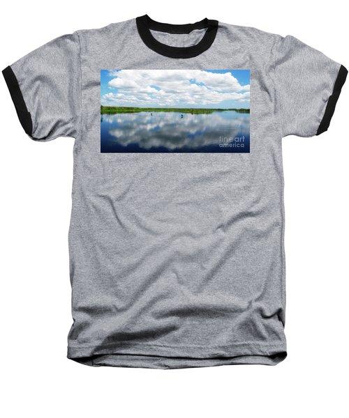 Skyscape Reflections Blue Cypress Marsh Near Vero Beach Florida C6 Baseball T-Shirt