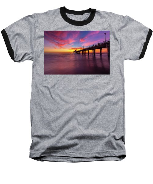 Stunning Sunset At Manhattan Beach Pier Baseball T-Shirt