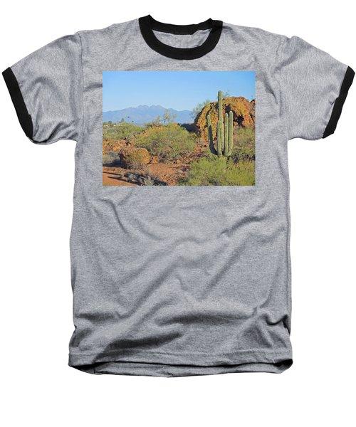 Baseball T-Shirt featuring the photograph View To Four Peaks  by Lynda Lehmann