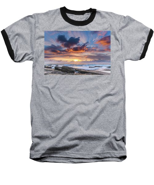An Atmospheric Sunrise Seascape Baseball T-Shirt