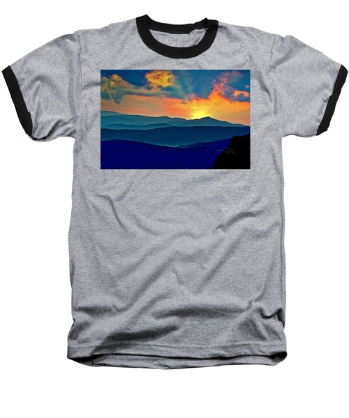 Blue Ridge Mountains Sunset Baseball T-Shirt