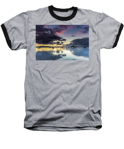 Overcast Morning On The Bay With Boats Baseball T-Shirt