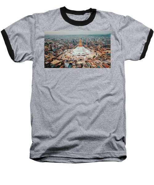 Stupa Temple Bodhnath Kathmandu, Nepal From Air October 12 2018 Baseball T-Shirt