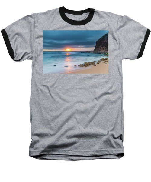 Sunrise Seascape And Cloudy Sky Baseball T-Shirt
