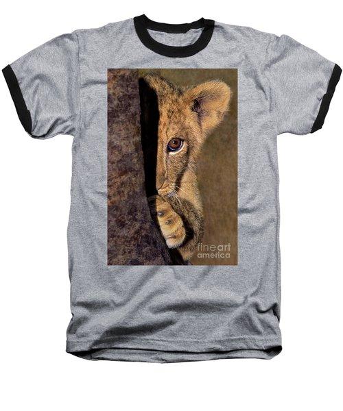 A Lion Cub Plays Hide And Seek Wildlife Rescue Baseball T-Shirt