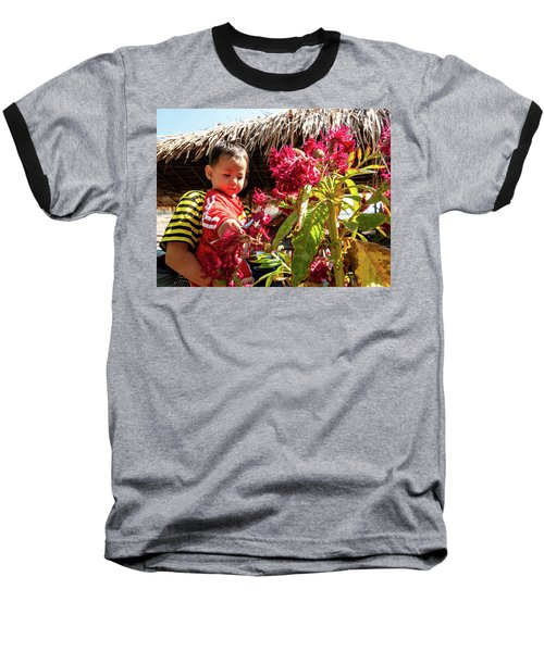 A Small Person With Reflected Flowers Baseball T-Shirt