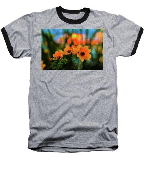 Sunflower Bokeh Sunset Baseball T-Shirt