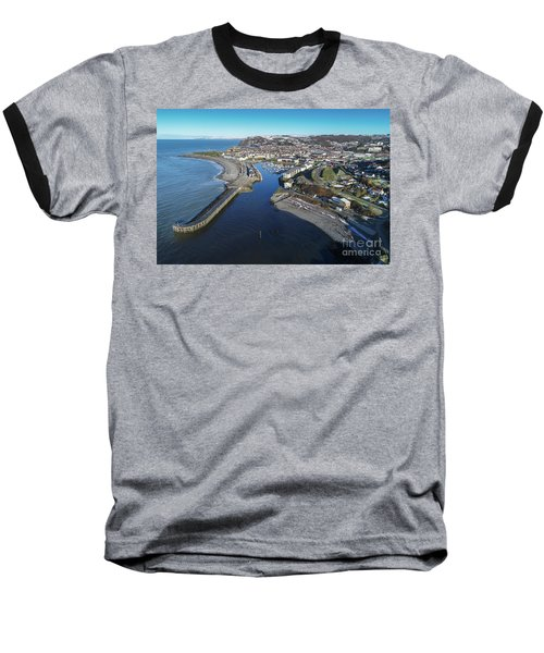Aberystwyth Harbour From The Air In Winter Baseball T-Shirt