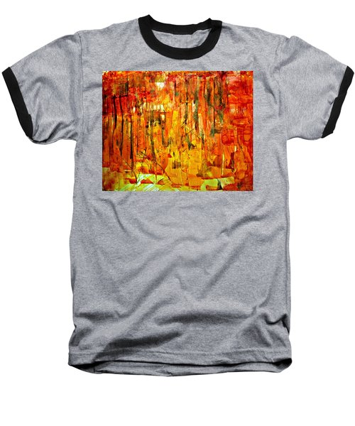 Baseball T-Shirt featuring the painting Ablaze by 'REA' Gallery