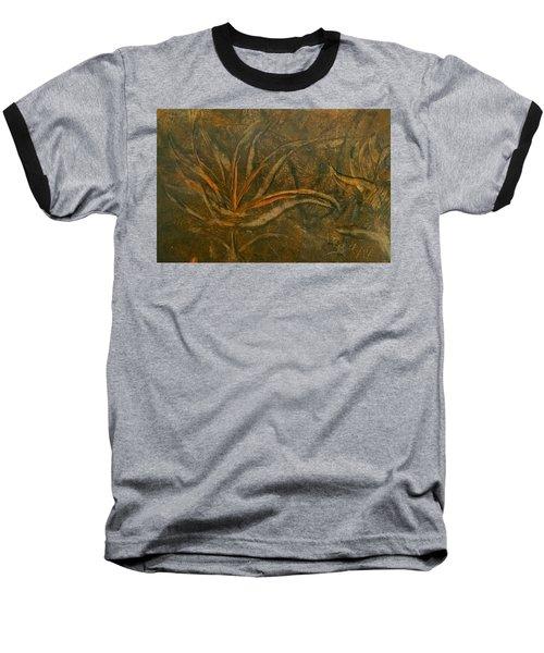 Abstract Brown/orange Floral In Encaustic Baseball T-Shirt