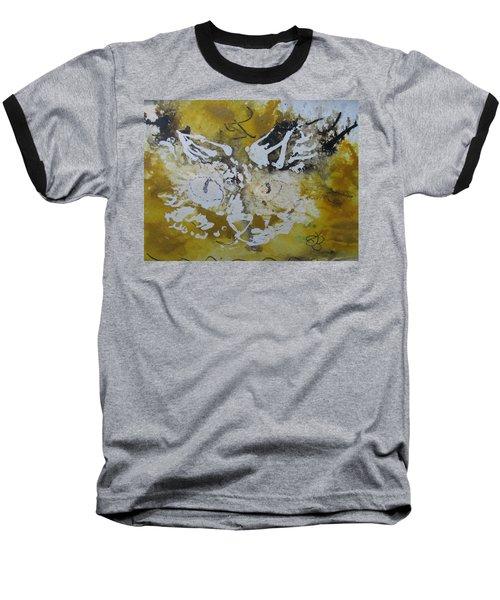 Abstract Cat Face Yellows And Browns Baseball T-Shirt