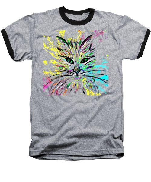 Abstract Cat  Baseball T-Shirt