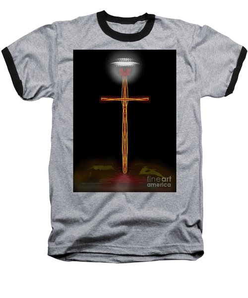 Abstract Cross With Halo Baseball T-Shirt