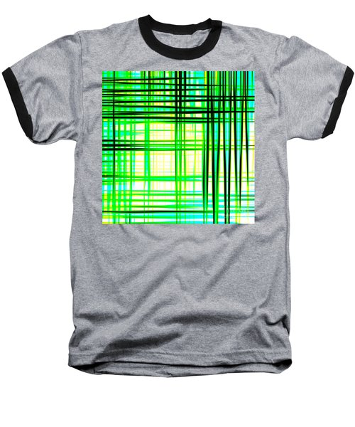 Abstract Design With Lines Squares In Green Color Waves - Pl409 Baseball T-Shirt