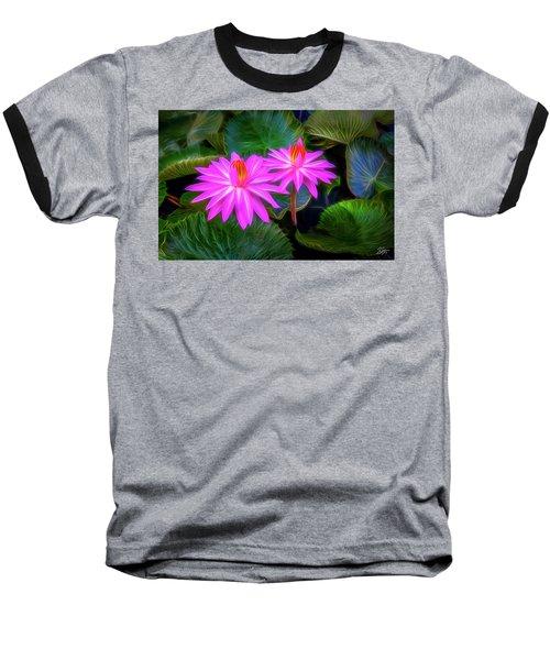 Abstracted Water Lilies Baseball T-Shirt