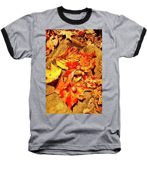 Acorns Fall Maple Oak Leaves Baseball T-Shirt