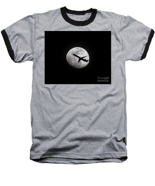 Airliner Passing In Front Of A Full Moon Baseball T-Shirt