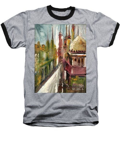Baseball T-Shirt featuring the painting Mosque  by Nizar MacNojia