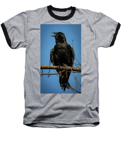 Baseball T-Shirt featuring the photograph American Crow by Lora J Wilson