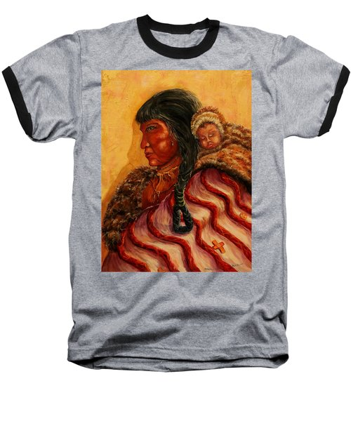American Indian Mother And Child Baseball T-Shirt