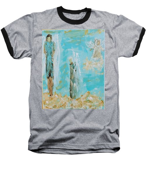 Angels Appear On Golden Clouds Baseball T-Shirt