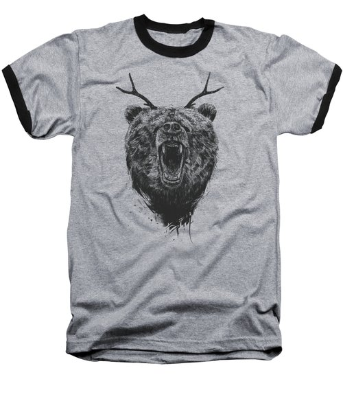 Angry Bear With Antlers Baseball T-Shirt