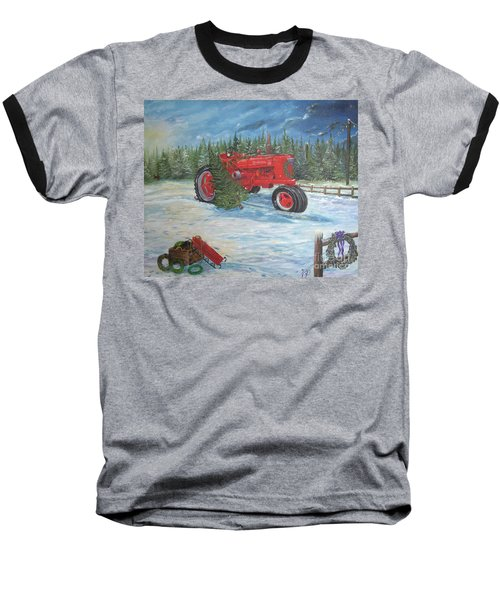 Antique Tractor At The Christmas Tree Farm Baseball T-Shirt