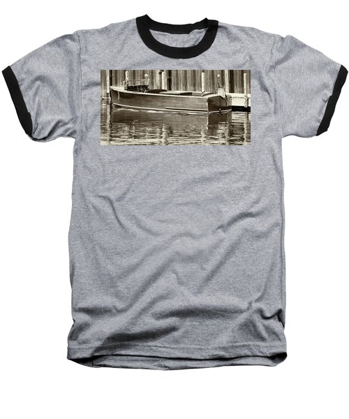 Antique Wooden Boat By Dock Sepia Tone 1302tn Baseball T-Shirt