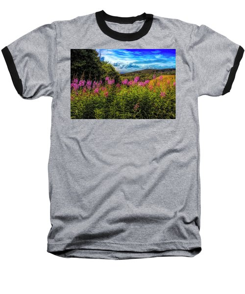 Art Photo Of Vermont Rolling Hills With Pink Flowers In The Fore Baseball T-Shirt