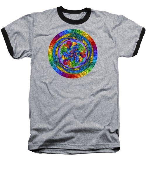 Psychedelic Dragons Rainbow Mandala Baseball T-Shirt
