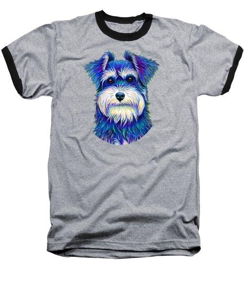 Colorful Miniature Schnauzer Dog Baseball T-Shirt