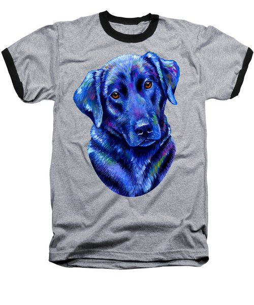 Colorful Black Labrador Retriever Dog Baseball T-Shirt