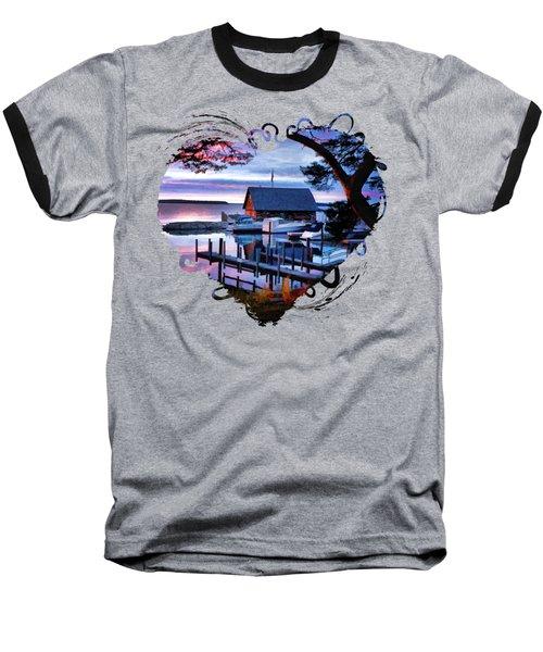 Door County Anderson Dock Sunset Baseball T-Shirt