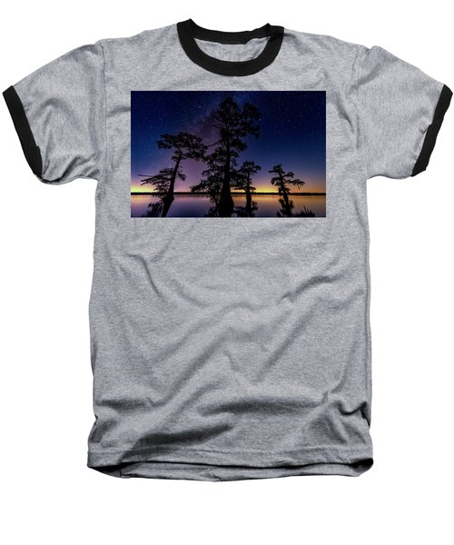 Baseball T-Shirt featuring the photograph Atchafalaya Basin Under The Miky Way by Andy Crawford