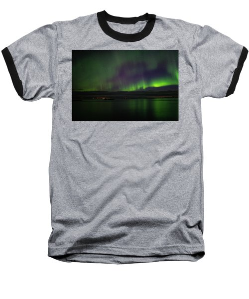 Aurora Borealis Reflecting At The Sea Surface Baseball T-Shirt
