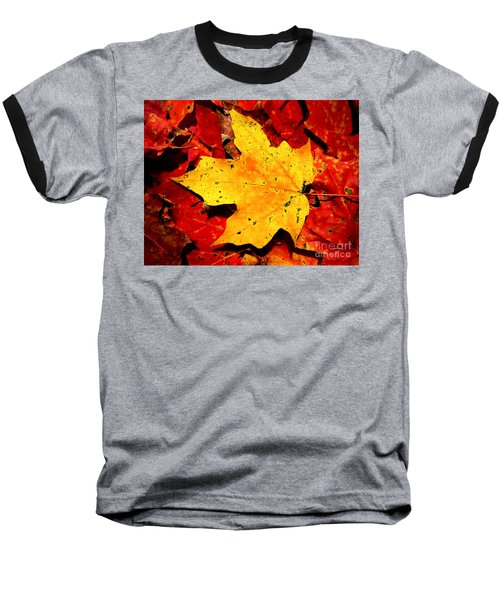 Autumn Beige Yellow Leaf On Red Leaves Baseball T-Shirt