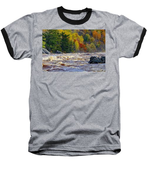 Autumn Colors And Rushing Rapids   Baseball T-Shirt