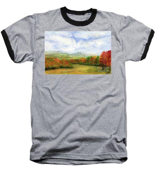 Autumn Day Watercolor Vermont Landscape Baseball T-Shirt