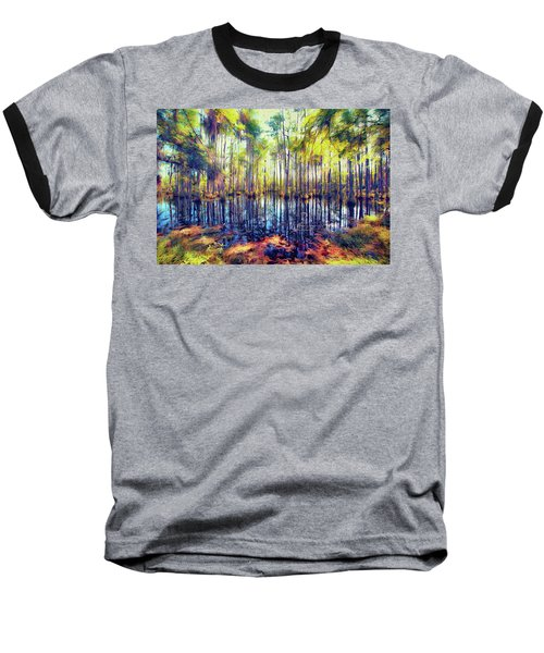 Autumn Fall Colors In The Cypress Swamp Ap Baseball T-Shirt