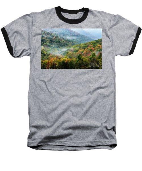 Autumn Hillsides With Mist Baseball T-Shirt