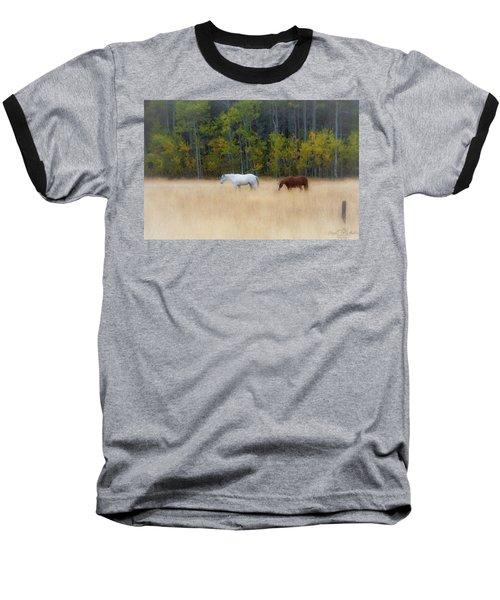 Autumn Horse Meadow Baseball T-Shirt