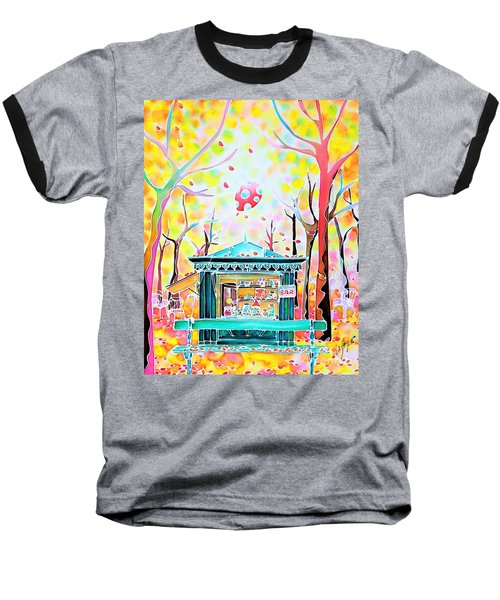 Baseball T-Shirt featuring the painting Autumn In The Park by Hisayo Ohta