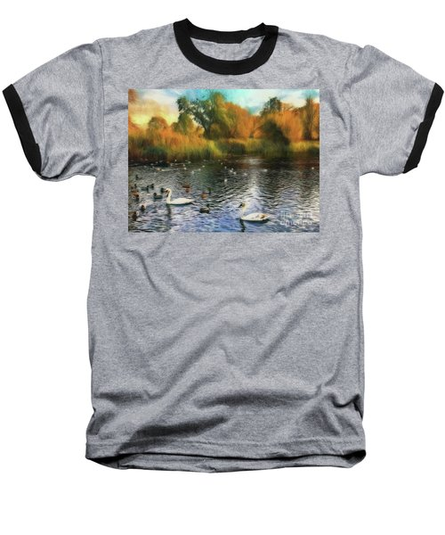 Baseball T-Shirt featuring the photograph Autumn On The Lake by Leigh Kemp