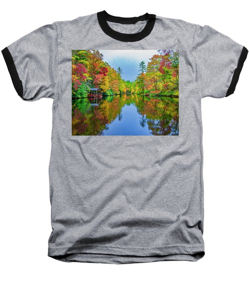 Baseball T-Shirt featuring the photograph Autumn On Mirror Lake by Andy Crawford