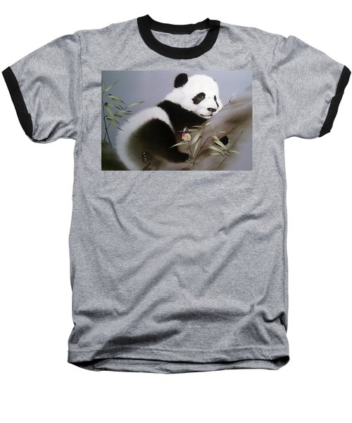 Baby Panda And Butterfly Baseball T-Shirt